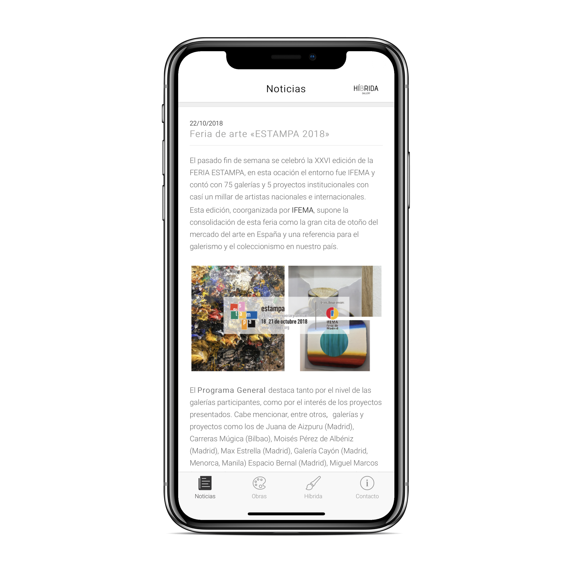 App Galería arte online – Híbrida Gallery